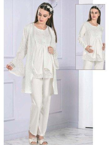 3lü Hamile Lohusa Dantel Detaylı Gecelik Pijama Takım FLZ 31-347