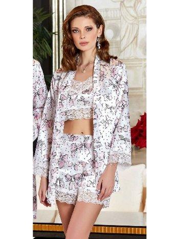3'lü Saten Büstiyerli Pijama Takım Jeremi 3131