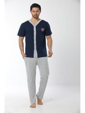 Akbeniz Erkek Lacivert Önden Düğmeli Pijama Takım 6536