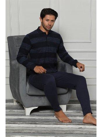Akbeniz Erkek Pamuk Cepli Ribana Paça Uzun Kollu Pijama Takımı 6697