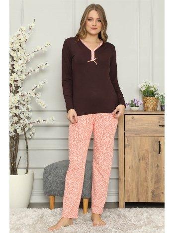 Akbeniz Kadın %100 Pamuk Penye Uzun Kol Pijama Takım 2700