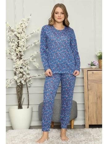 Akbeniz Kadın %100 Pamuk Penye Uzun Kol Pijama Takım 2701