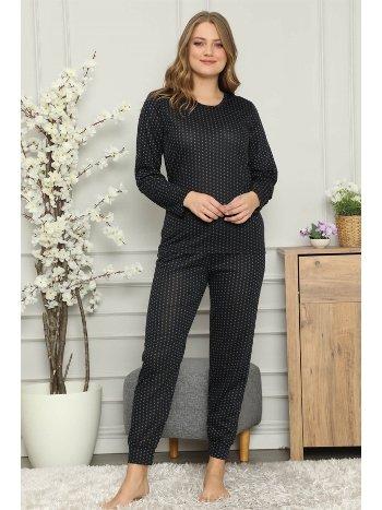 Akbeniz Kadın %100 Pamuk Penye Uzun Kol Pijama Takım 2702