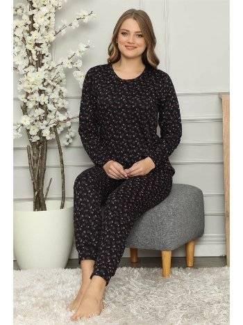 Akbeniz Kadın %100 Pamuk Penye Uzun Kol Pijama Takım 2704