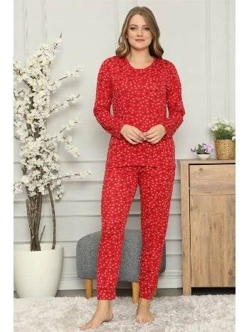 Akbeniz Kadın %100 Pamuk Penye Uzun Kol Pijama Takım 2705