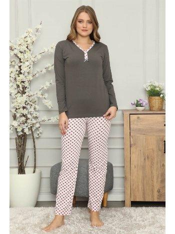 Akbeniz Kadın %100 Pamuk Penye Uzun Kol Pijama Takım 2709