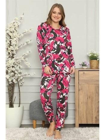Akbeniz Kadın %100 Pamuk Penye Uzun Kol Pijama Takım 2710