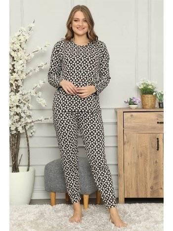 Akbeniz Kadın %100 Pamuk Penye Uzun Kol Pijama Takım 2712
