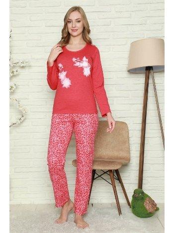 Akbeniz Kadın %100 Pamuk Penye Uzun Kol Pijama Takım 2737