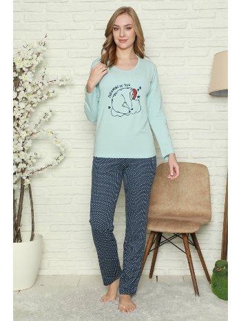 Akbeniz Kadın %100 Pamuk Penye Uzun Kol Pijama Takım 2738
