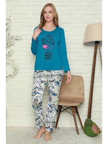 Akbeniz Kadın %100 Pamuk Penye Uzun Kol Pijama Takım 2740