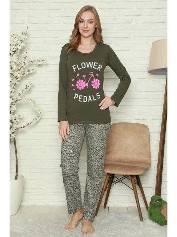 Akbeniz Kadın %100 Pamuk Penye Uzun Kol Pijama Takım 2743