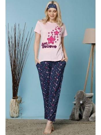 Akbeniz Kadın Açık Pembe Renk Pamuklu Cepli Kısa Kol Pijama Takım 2524