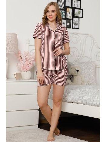 Akbeniz Kadın Bordo Beyaz Pamuklu Düğmeli Cepli Şortlu Pijama Takım 4304
