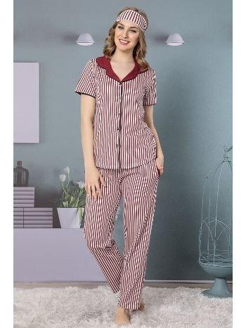 Akbeniz Kadın Bordo Pamuklu Düğmeli Cepli Kısa Kol Pijama Takım 2507
