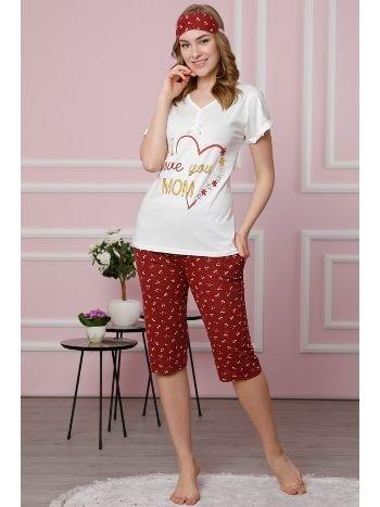 Akbeniz Kadın Ekru Pamuklu Cepli Kapri Pijama Takım 3515