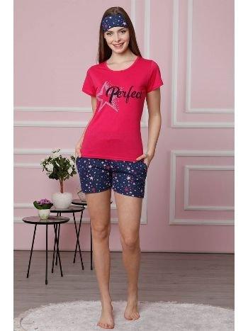 Akbeniz Kadın Fuşya Pamuklu Cepli Şortlu Pijama Takım 4310