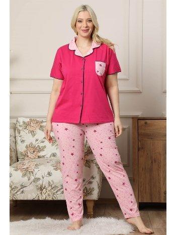 Akbeniz Kadın Fuşya Pamuklu Düğmeli Cepli Kısa Kol Büyük Beden Pijama Takım 202039