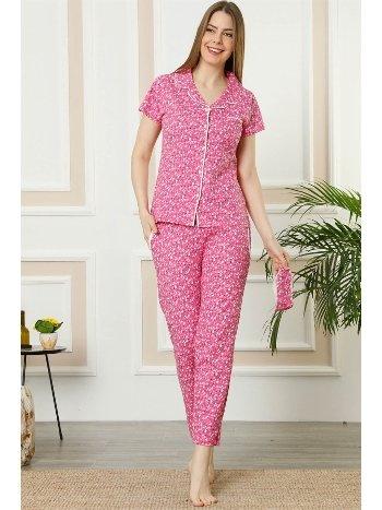 Akbeniz Kadın Fuşya Pamuklu Düğmeli Cepli Kısa Kol Pijama Takım 2390