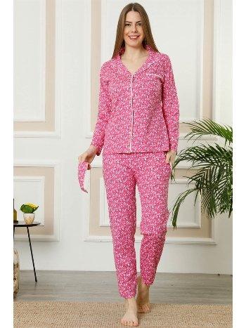 Akbeniz Kadın Fuşya Pamuklu Düğmeli Cepli Uzun Kol Pijama Takım 2458