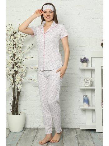 Akbeniz Kadın Gri Pembe Renk Pamuklu Cepli Kısa Kol Pijama Takım 2537