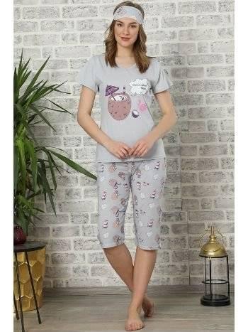 Akbeniz Kadın Gri Pamuklu Cepli Kapri Pijama Takım 3503