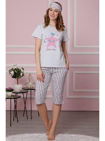 Akbeniz Kadın Gri Pamuklu Cepli Kapri Pijama Takım 3519