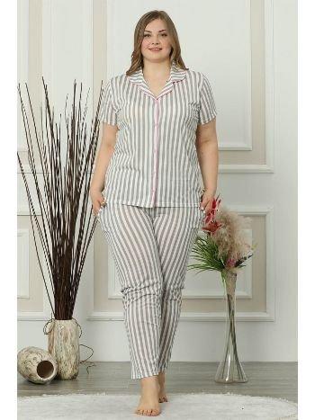 Akbeniz Kadın Gri Pamuklu Düğmeli Cepli Kısa Kol Büyük Beden Pijama Takım 202013