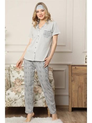 Akbeniz Kadın Gri Pamuklu Düğmeli Cepli Kısa Kol Pijama Takım 2541
