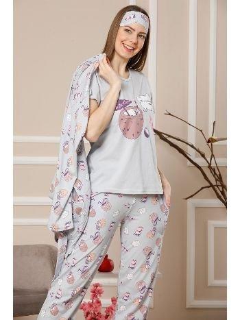 Akbeniz Kadın Gri Renk Pamuklu Cepli 3'lü Pijama Takım 1112