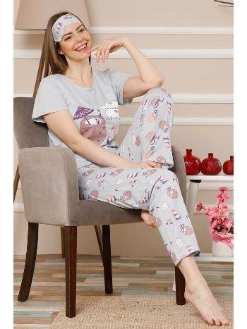 Akbeniz Kadın Gri Renk Pamuklu Cepli Kısa Kol Pijama Takım 2521