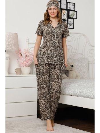 Akbeniz Kadın Kahverengi Leopar Desenli Pamuklu Cepli Kısa Kol Pijama Takım 2526
