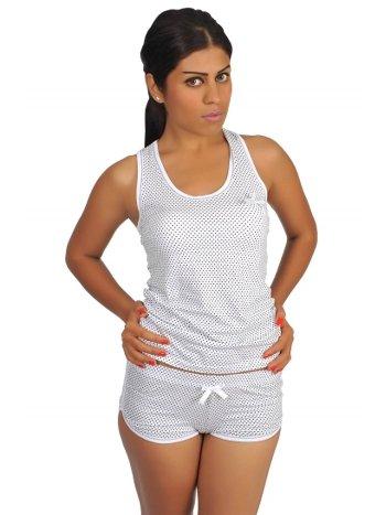 Akbeniz Kadın Kalın Askılı Beyaz Renkli Şortlu Pijama Takımı 536