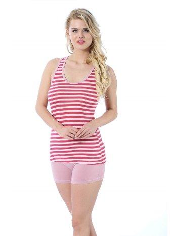 Akbeniz Kadın Kalın Askılı Mercan Beyaz Renkli Şortlu Pijama Takımı 413