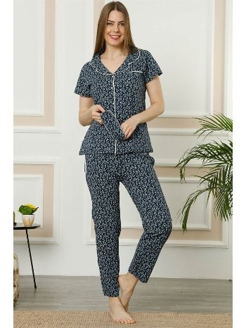 Akbeniz Kadın Lacivert Gri Pamuklu Düğmeli Cepli Kısa Kol Pijama Takım 2393