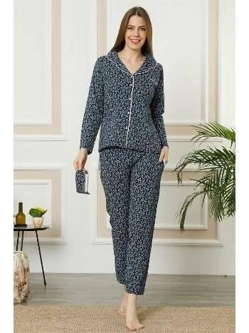 Akbeniz Kadın Lacivert Gri Pamuklu Düğmeli Cepli Uzun Kol Pijama Takım 2461