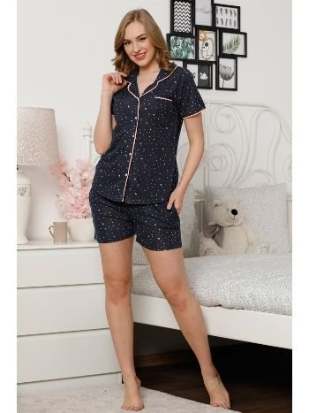 Akbeniz Kadın Lacivert Pamuklu Düğmeli Cepli Şortlu Pijama Takım 4303