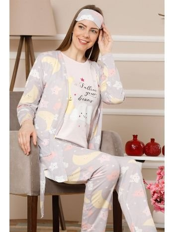 Akbeniz Kadın Lila Renk Pamuklu Cepli 3'lü Pijama Takım 1114