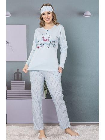 Akbeniz Kadın Mavi Pamuklu Cepli Uzun Kol Pijama Takım 2465