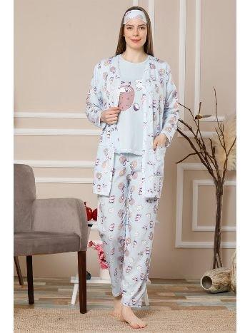 Akbeniz Kadın Mavi Renk Pamuklu Cepli 3'lü Pijama Takım 1111