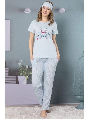 Akbeniz Kadın Mavi Renk Pamuklu Cepli Kısa Kol Pijama Takım 2502