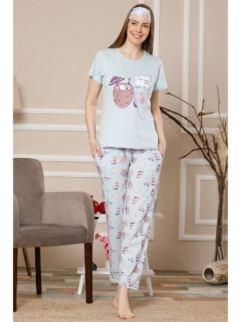 Akbeniz Kadın Mavi Renk Pamuklu Cepli Kısa Kol Pijama Takım 2520
