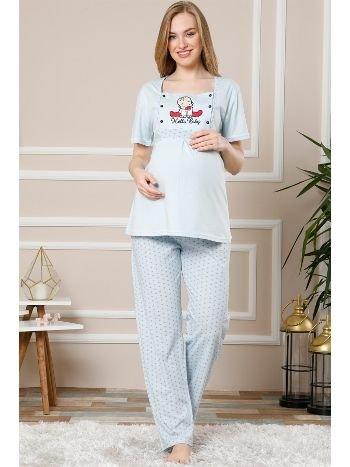 Akbeniz Kadın Mavi Renk Pamuklu Hamile Pijama Takımı 4503