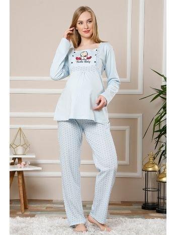 Akbeniz Kadın Mavi Renk Pamuklu Hamile Pijama Takımı 4512
