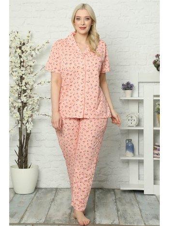 Akbeniz Kadın Pamuklu Cepli Kısa Kol Büyük Beden Pijama Takım 202028