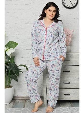 Akbeniz Kadın Pamuklu Cepli Uzun Kol Büyük Beden Pijama Takım 202041