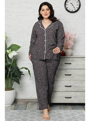 Akbeniz Kadın Pamuklu Cepli Uzun Kol Büyük Beden Pijama Takım 202044