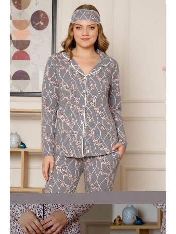 Akbeniz Kadın Pamuklu Düğmeli Cepli Şardonlu Uzun Kol Pijama Takım 2495