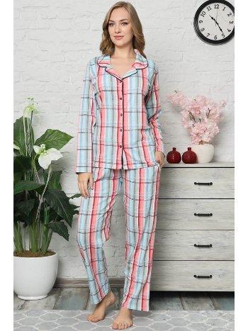 Akbeniz Kadın Pamuklu Düğmeli Cepli Uzun Kol Pijama Takım 2474