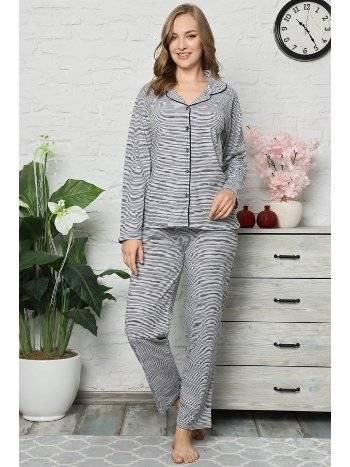 Akbeniz Kadın Pamuklu Düğmeli Cepli Uzun Kol Pijama Takım 2475